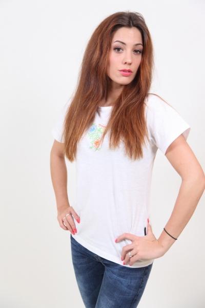 Damen T-Shirt Aloha Rundhals Weiss