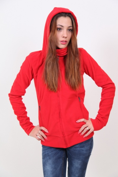 Damen Schal Fleece Jacke alle Farben + Kapuze